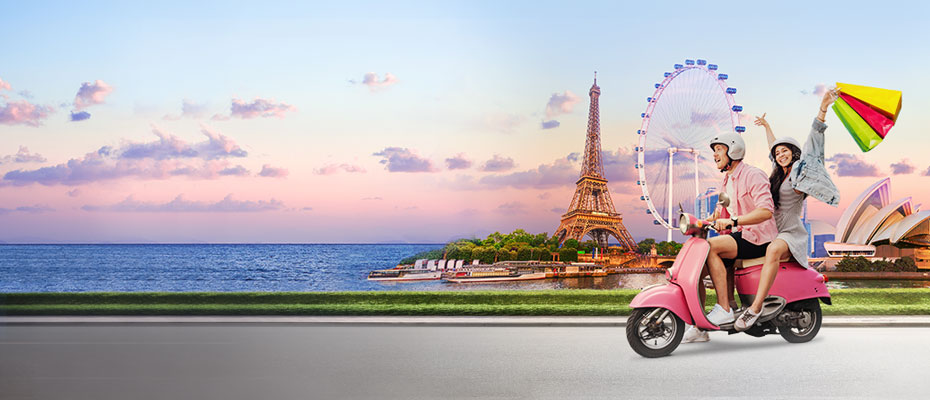 Couple on motor cycle in front of Effel Tower; image used for HSBC Vietnam Home Page