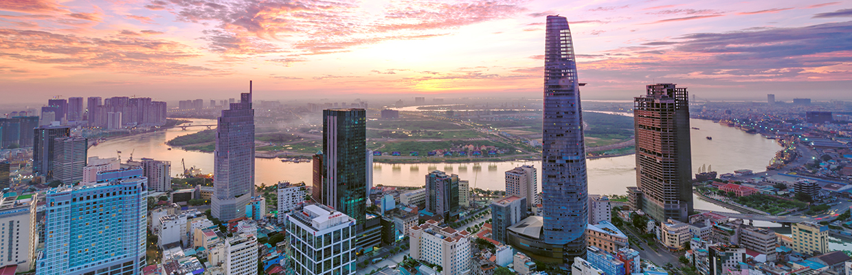 Panoramic view of Ho Chi Minh City at dawn; image used for HSBC Vietnam COVID-19 Relief Measures page